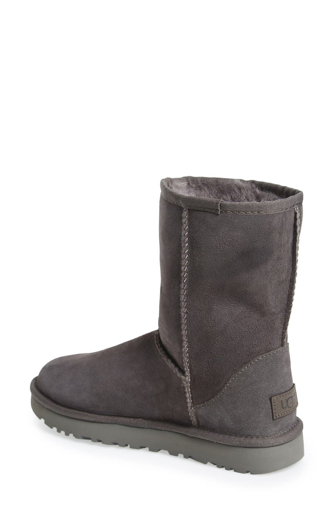 'Classic II' Genuine Shearling Lined Short Boot,                             Alternate thumbnail 2, color,                             Grey Suede