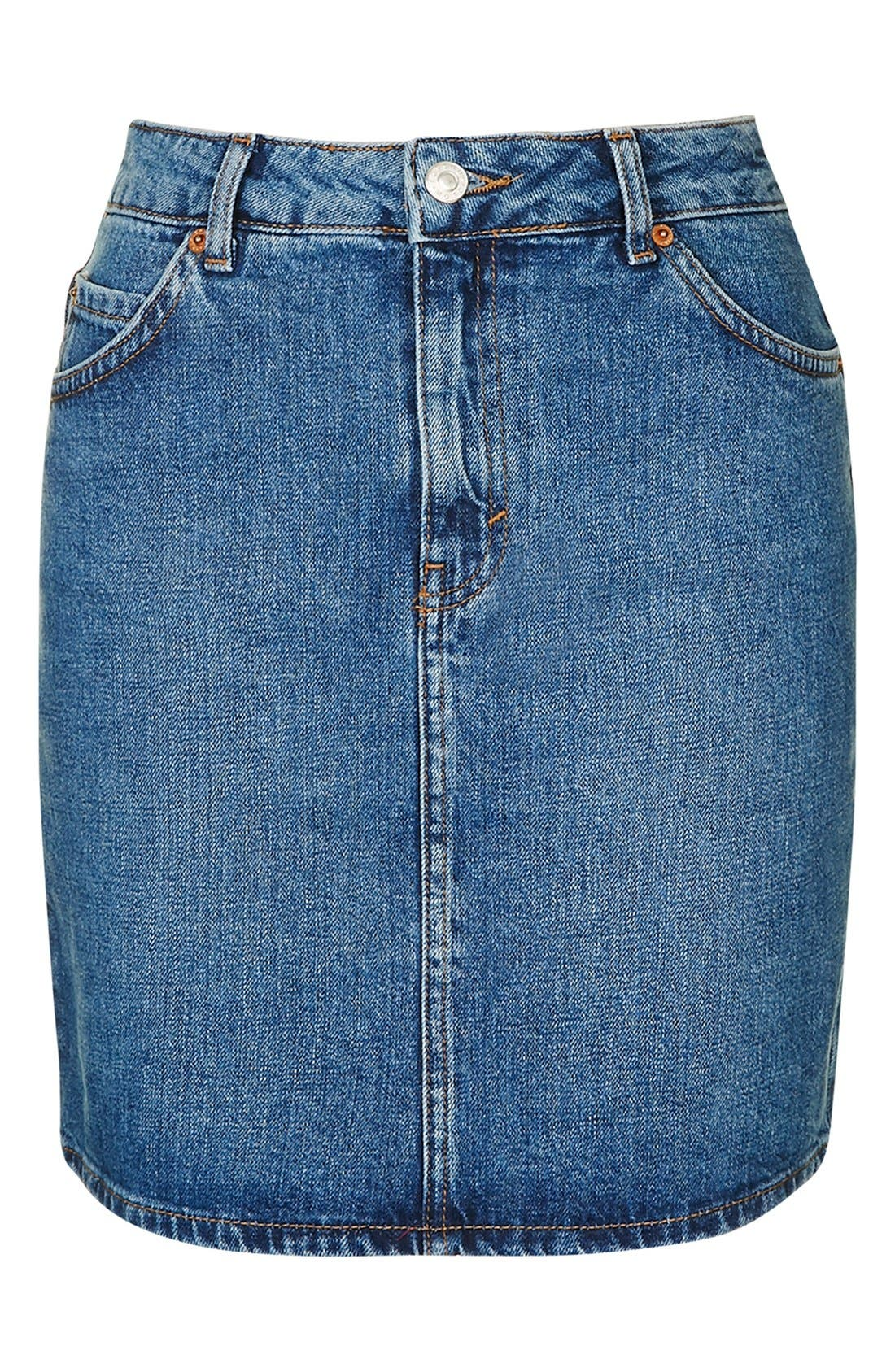 Alternate Image 4  - Topshop Moto High Rise Denim Skirt