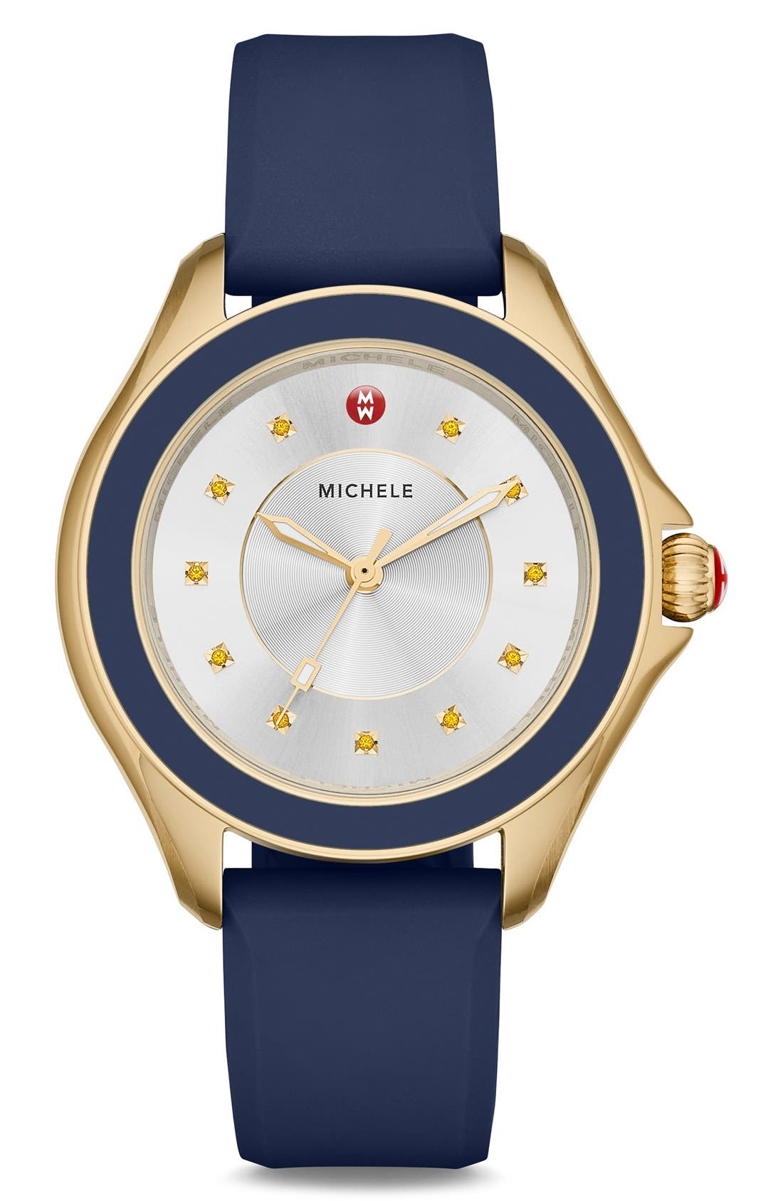Cape Topaz Dial Silicone Strap Watch, 40mm,                             Main thumbnail 1, color,                             Navy/ Gold
