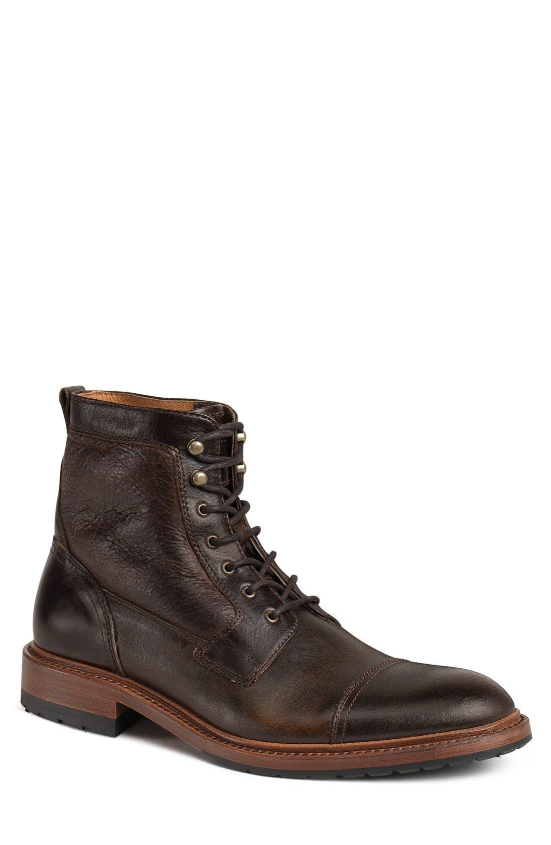 'Lowell' Cap Toe Boot,                             Main thumbnail 1, color,                             Dark Brown