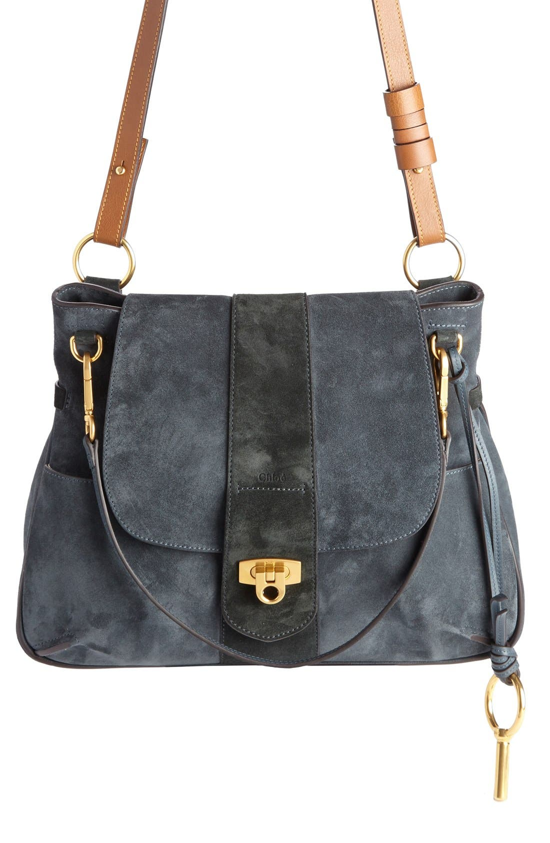 'Medium Lexa' Suede Shoulder Bag,                             Alternate thumbnail 2, color,                             Silver Blue