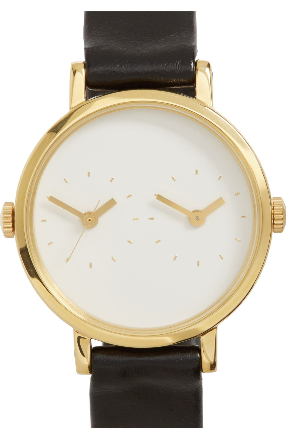 Main Image - Steven Alan 'Time Traveler' Round Leather Strap Watch, 30mm