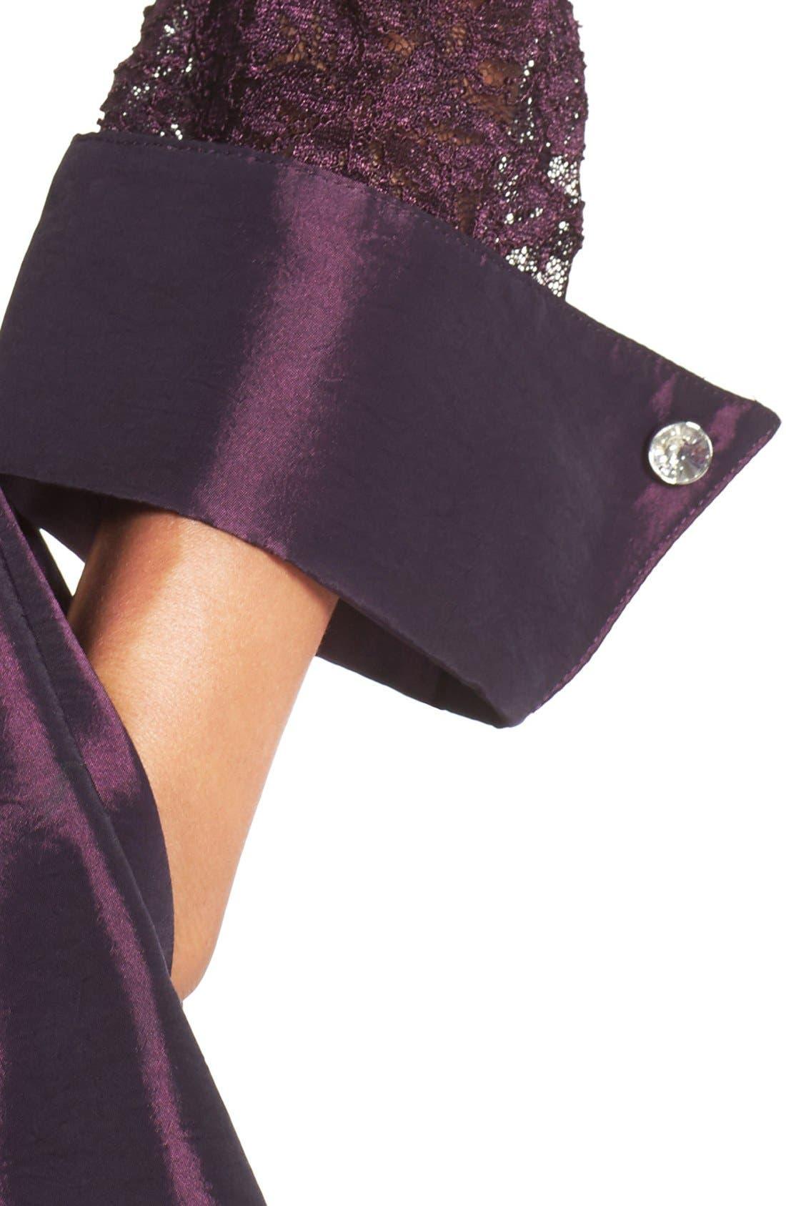 Alternate Image 4  - Eliza J Mixed Media Fit & Flare Dress (Regular & Petite)