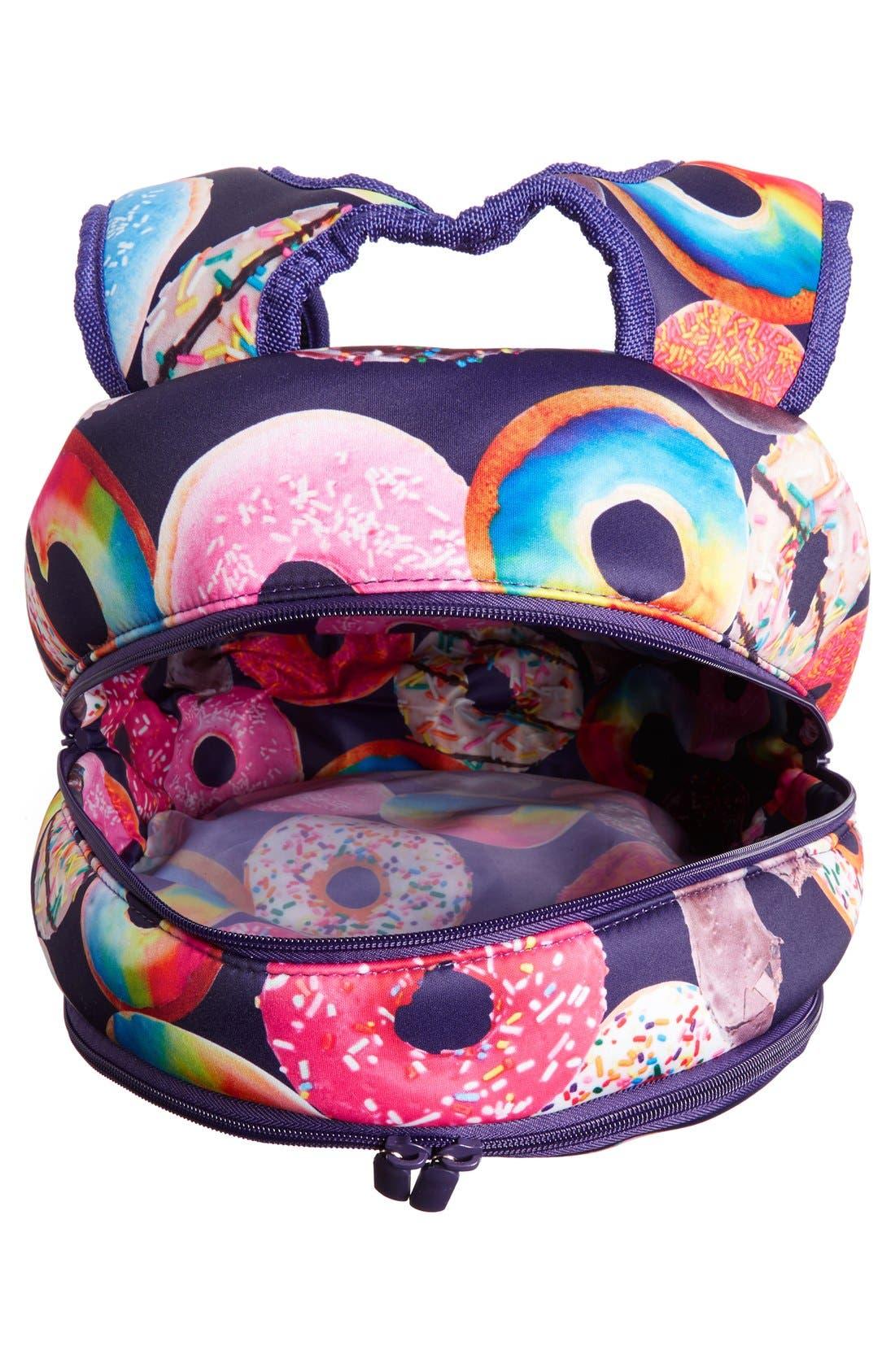 'Donut Shop' Neoprene Backpack,                             Alternate thumbnail 3, color,                             Black Multi
