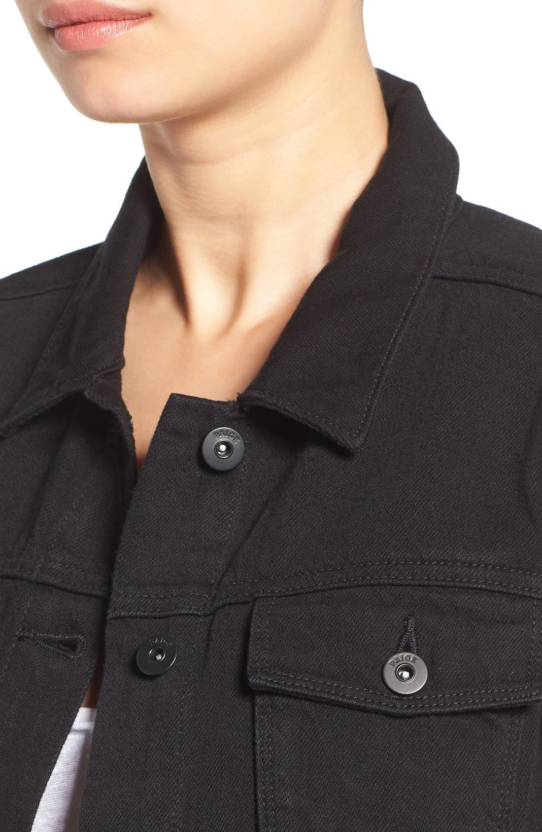 'Vivienne' Denim Jacket,                             Alternate thumbnail 4, color,                             Black Hawk