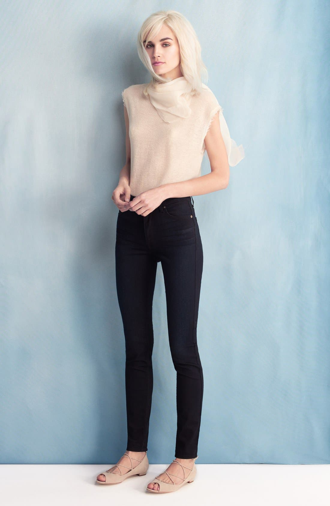 7 For All Mankind b(air) High Waist Skinny Jeans,                             Alternate thumbnail 6, color,                             Blue/ Black River Thames