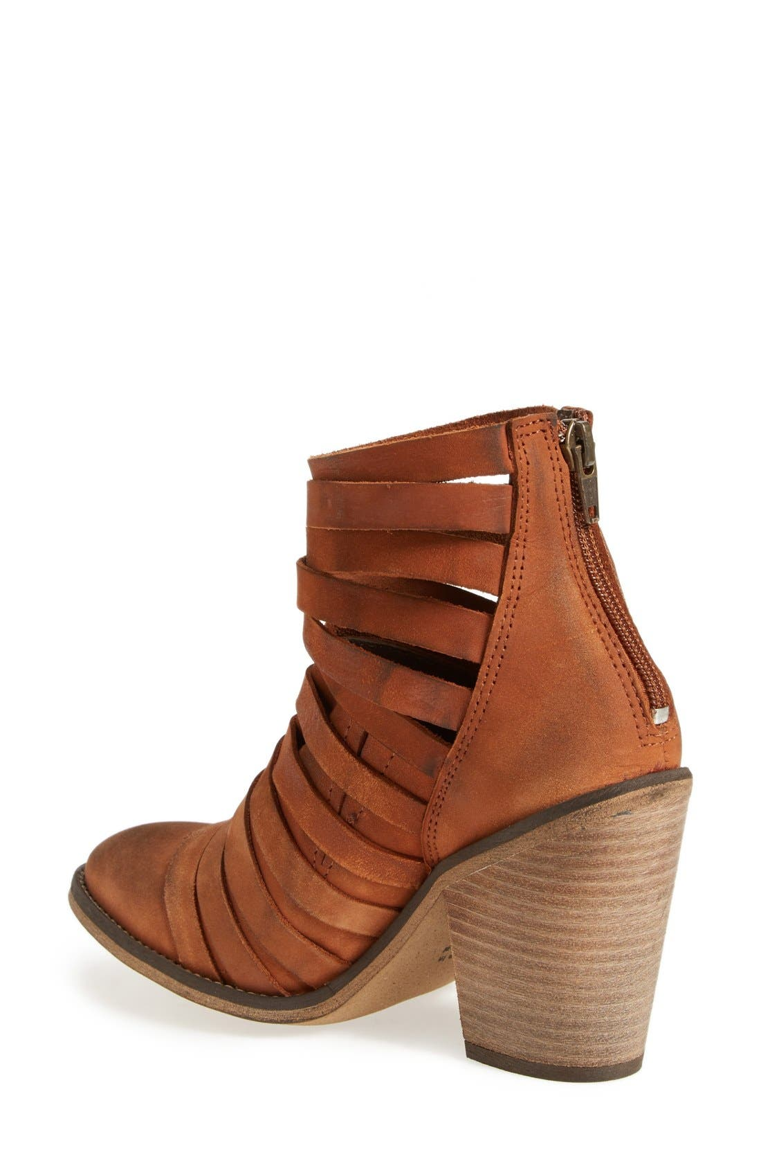 'Hybrid' Strappy Leather Bootie,                             Alternate thumbnail 2, color,                             Terracotta Leather