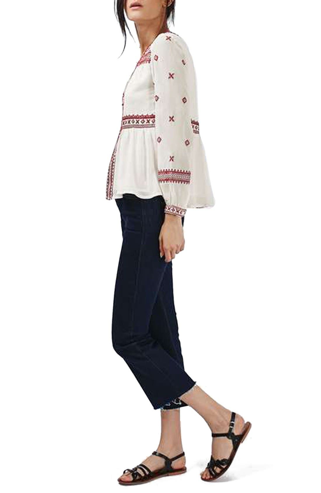 Alternate Image 2  - Topshop Embroidered Peasant Top