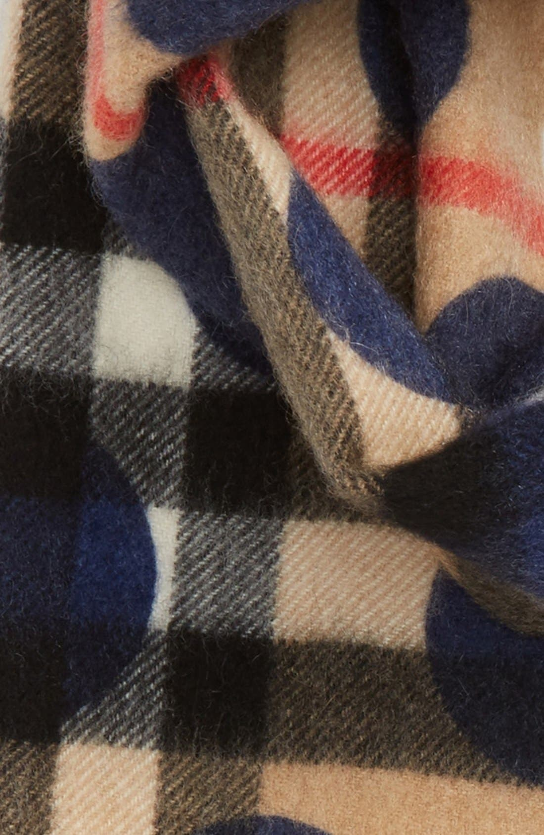 Check Cashmere Scarf,                             Alternate thumbnail 2, color,                             Indigo Blue