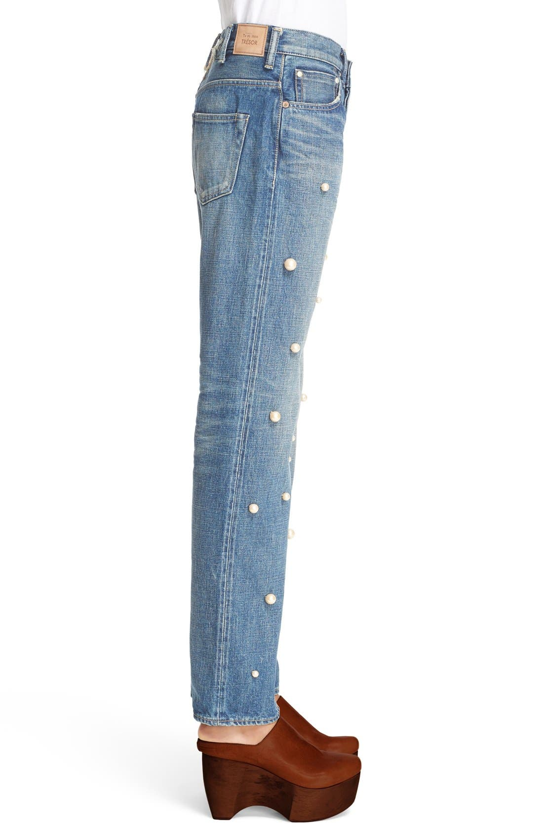 Alternate Image 5  - Tu es mon TRÉSOR Imitation Pearl Embellished Jeans