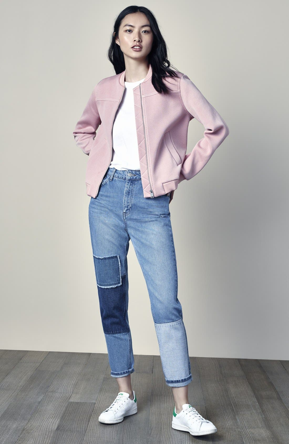 Alternate Image 6  - Topshop Mom Patchwork High Rise Jeans