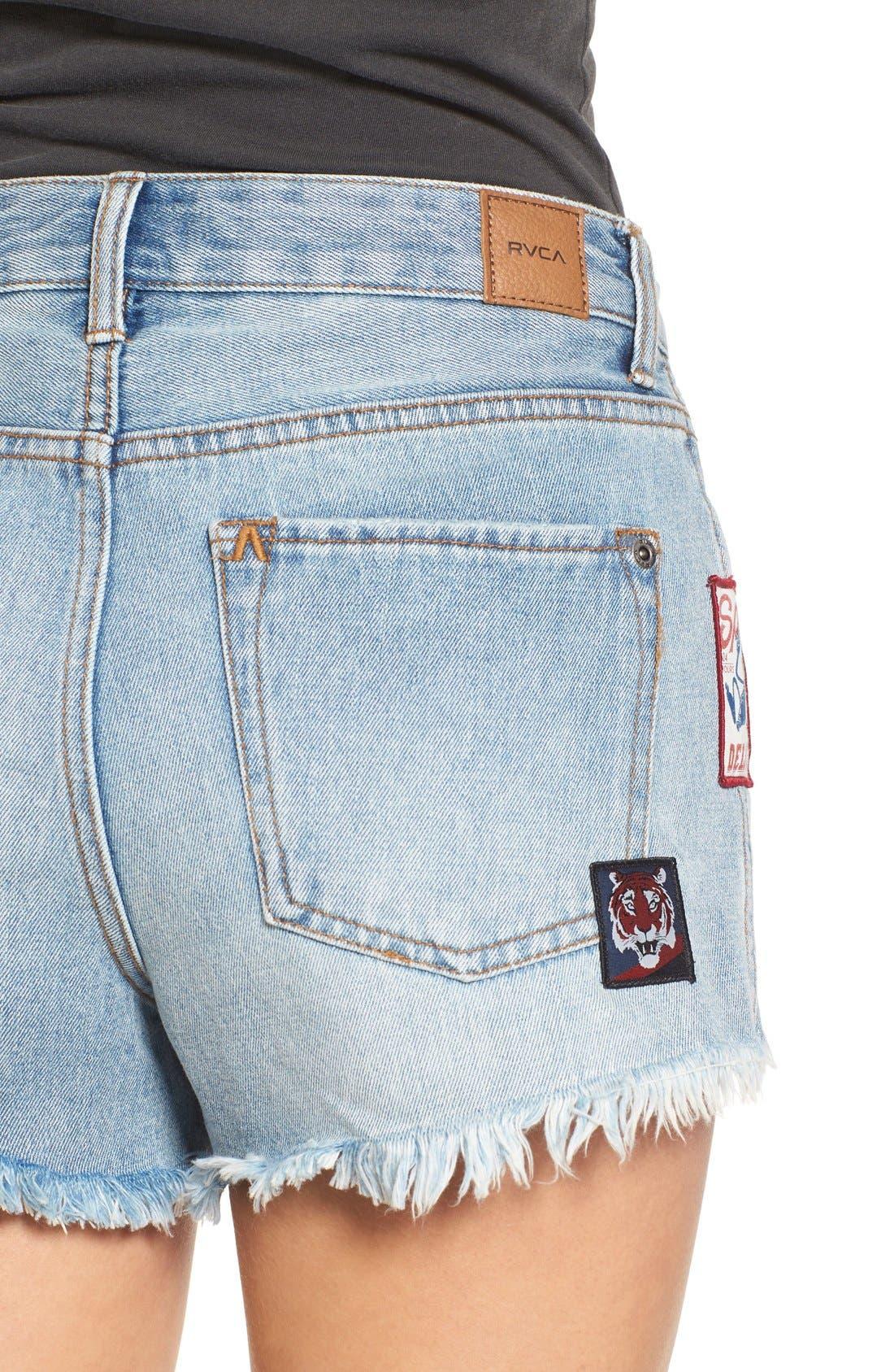Alternate Image 4  - RVCA Cutoff Patch Denim Shorts