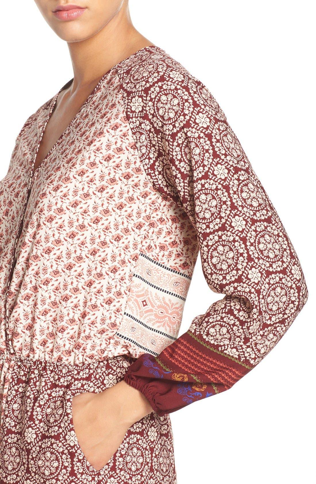 'Madison' Print Surplice Tie Waist Romper,                             Alternate thumbnail 4, color,                             Madison Wine