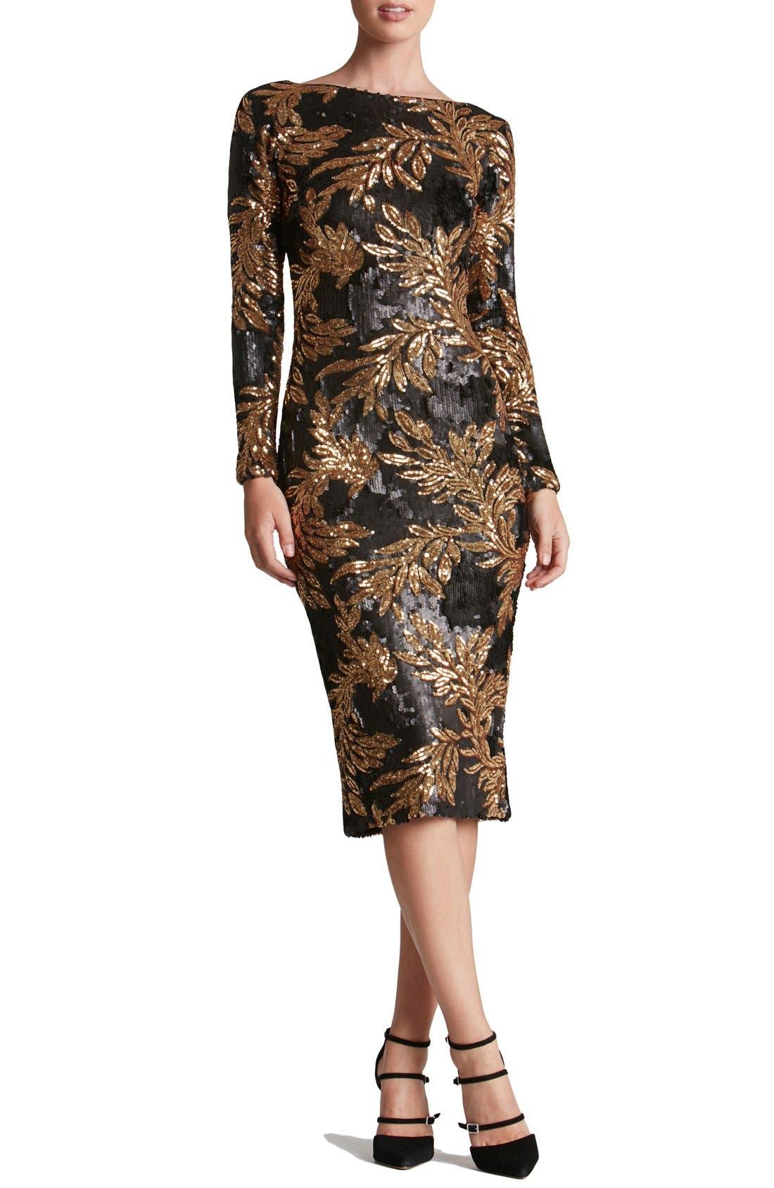 Main Image - Dress the Population 'Emery' Scoop Back Two-Tone Sequin Sheath Dress