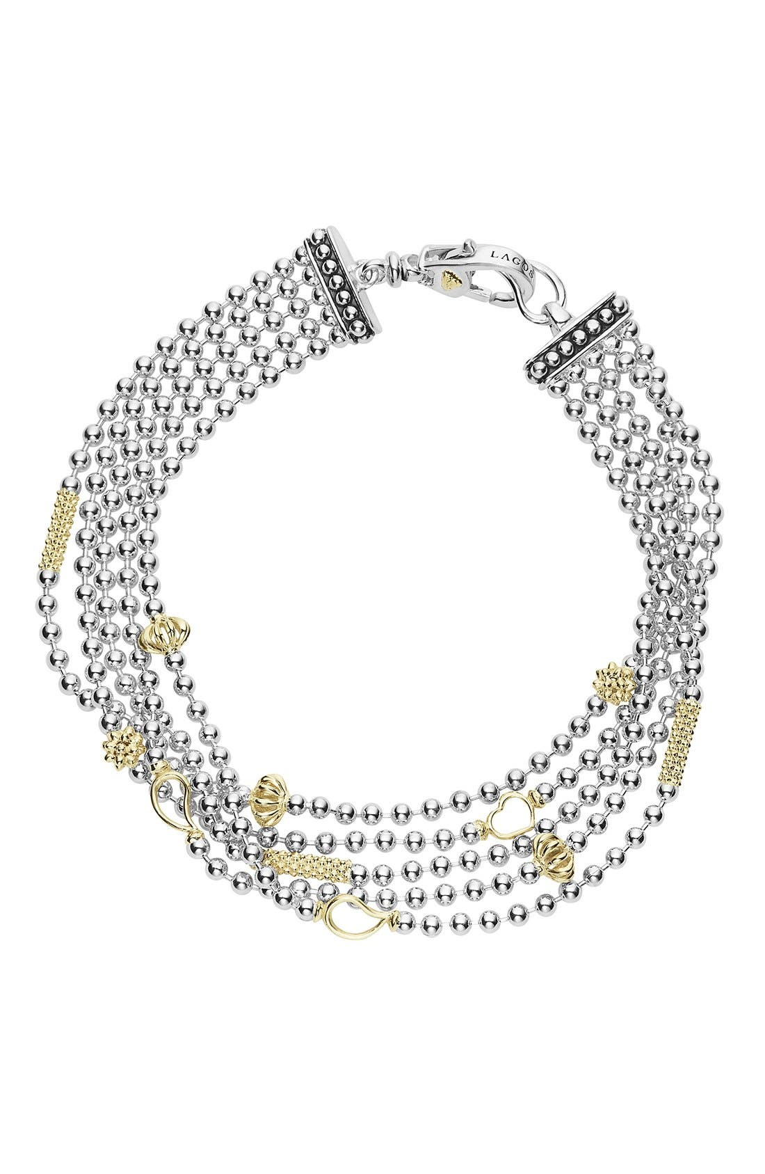 'Caviar Icon' Multistrand Bracelet,                             Main thumbnail 1, color,                             Silver/ Gold
