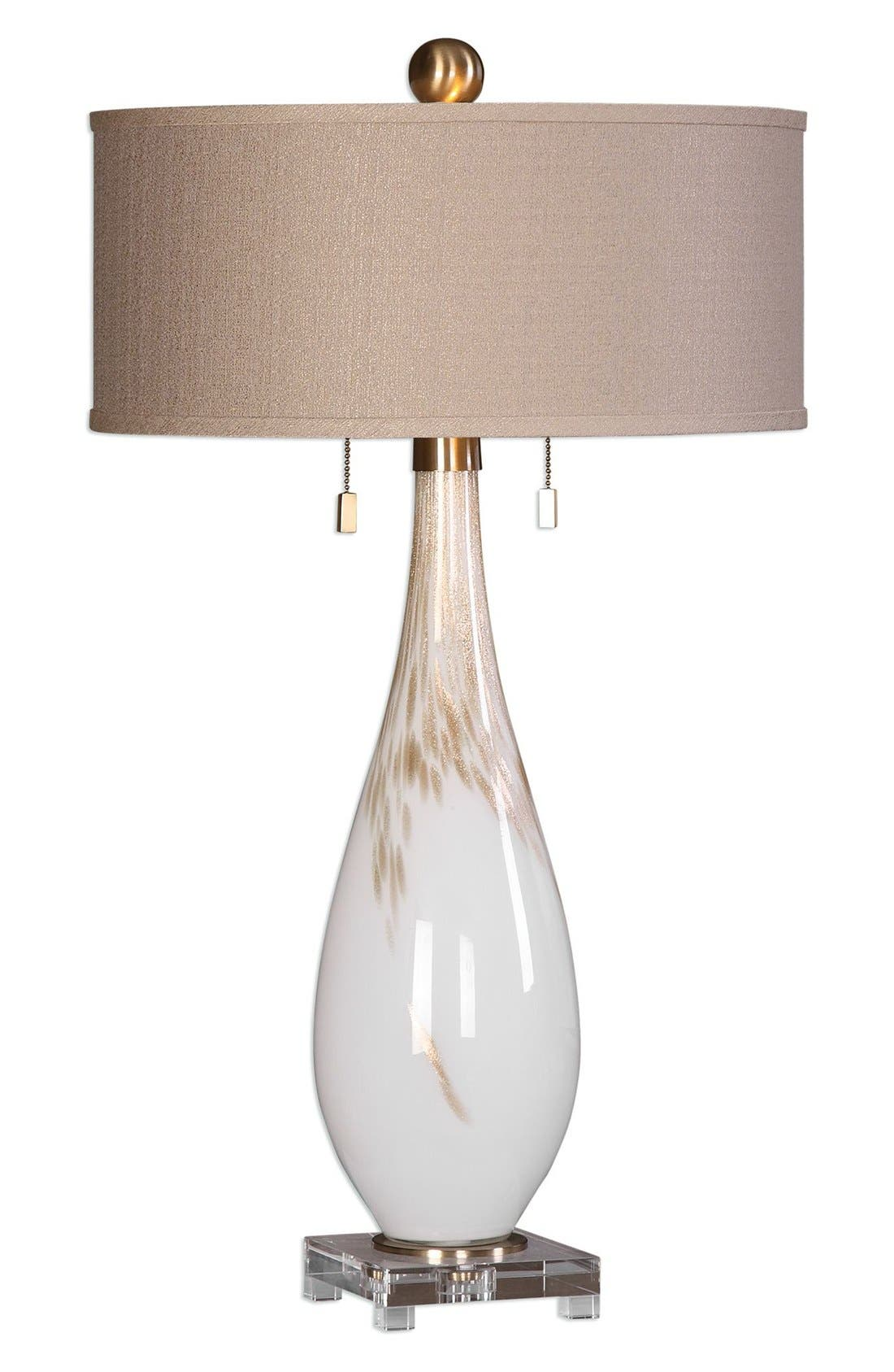 White Glass Table Lamp,                         Main,                         color, White