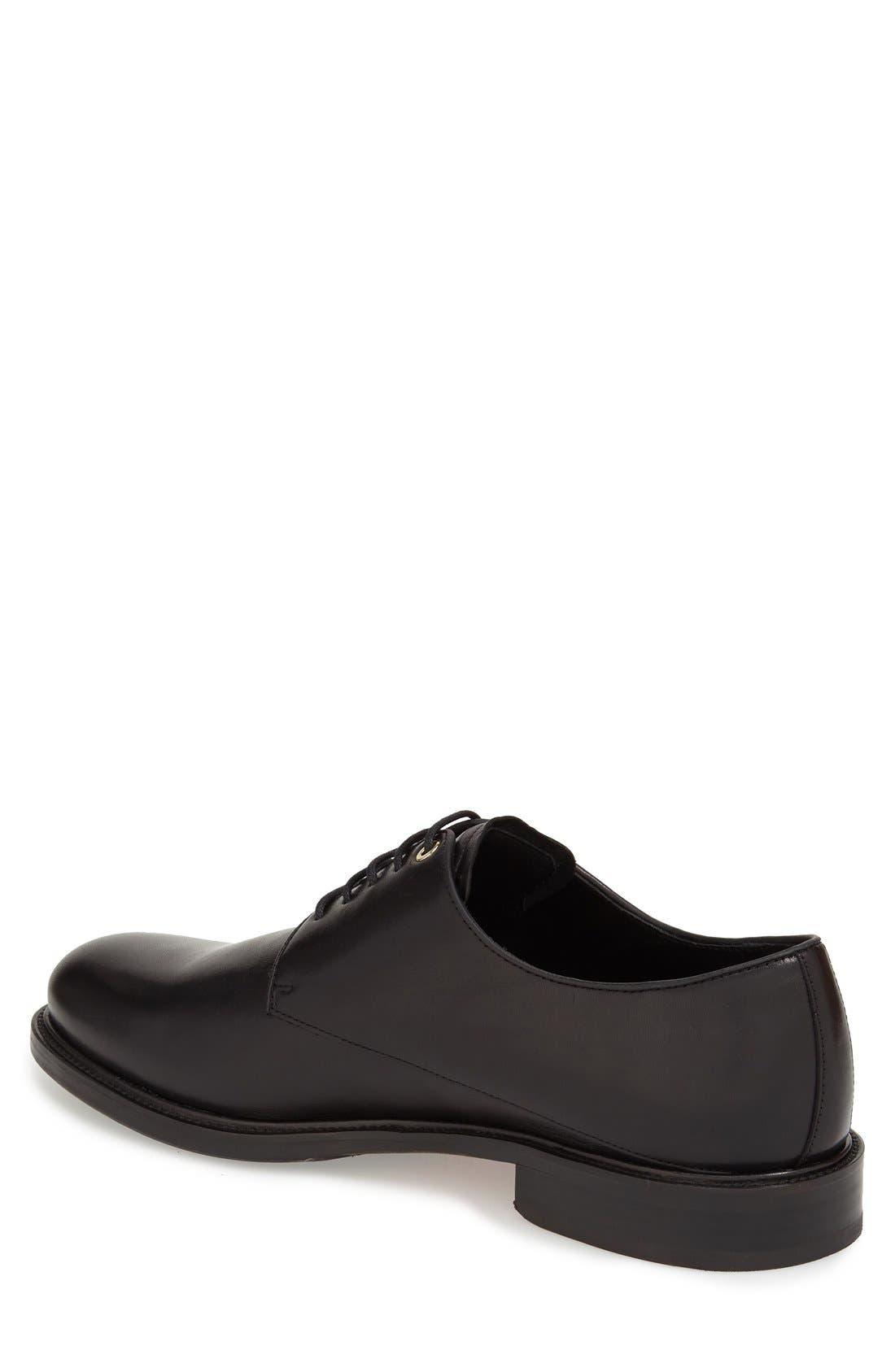 'Benson' Plain Toe Derby,                             Alternate thumbnail 2, color,                             Box Black Leather