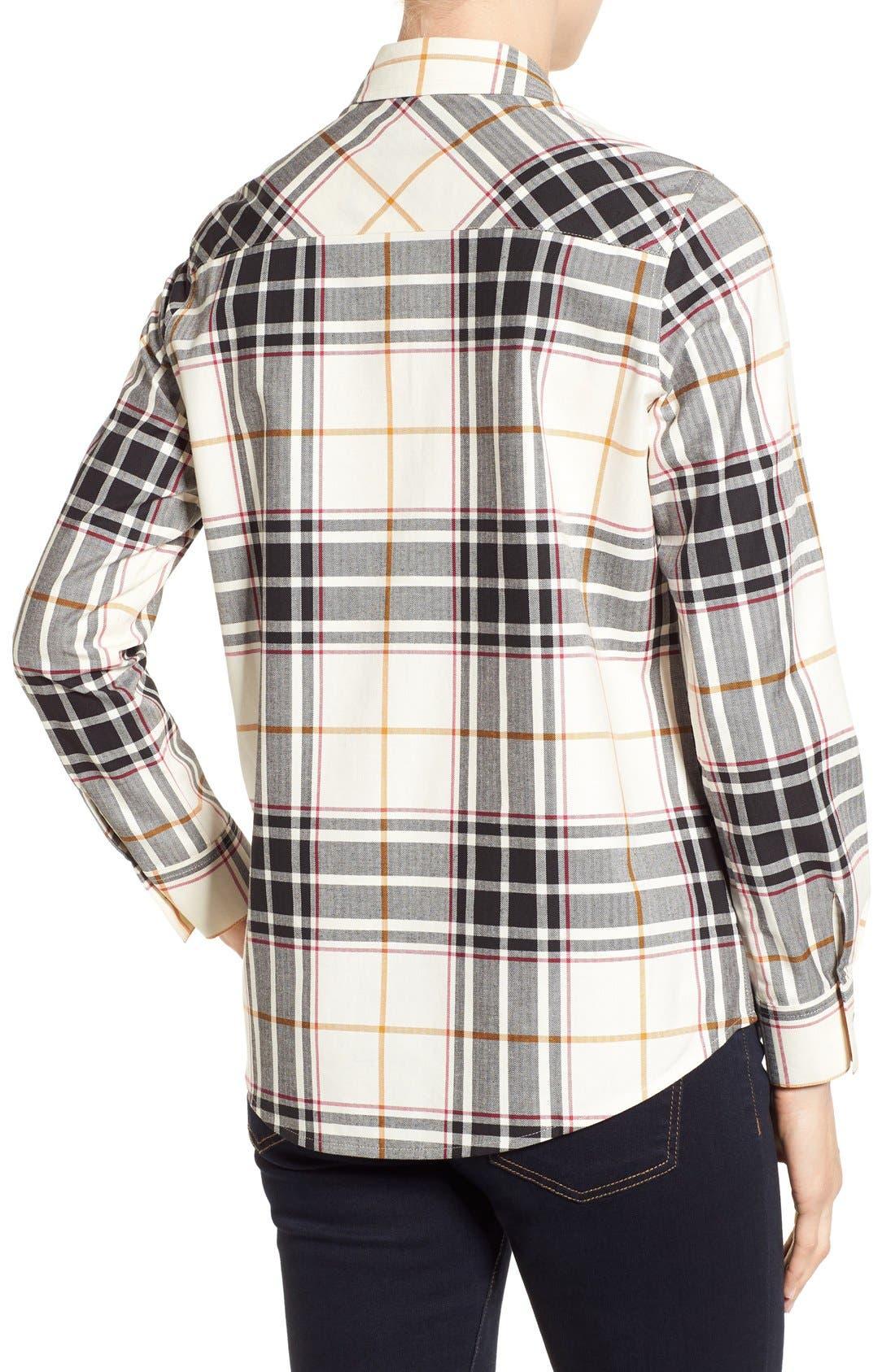 Alternate Image 2  - Foxcroft Herringbone Plaid Roll Sleeve Shirt (Regular & Petite)