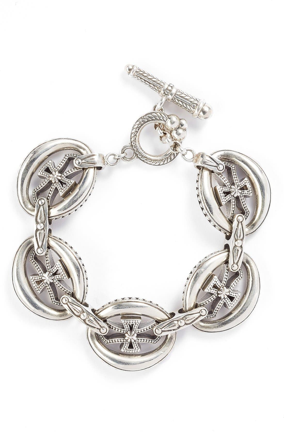'Penelope' Cross Link Bracelet,                         Main,                         color, Silver