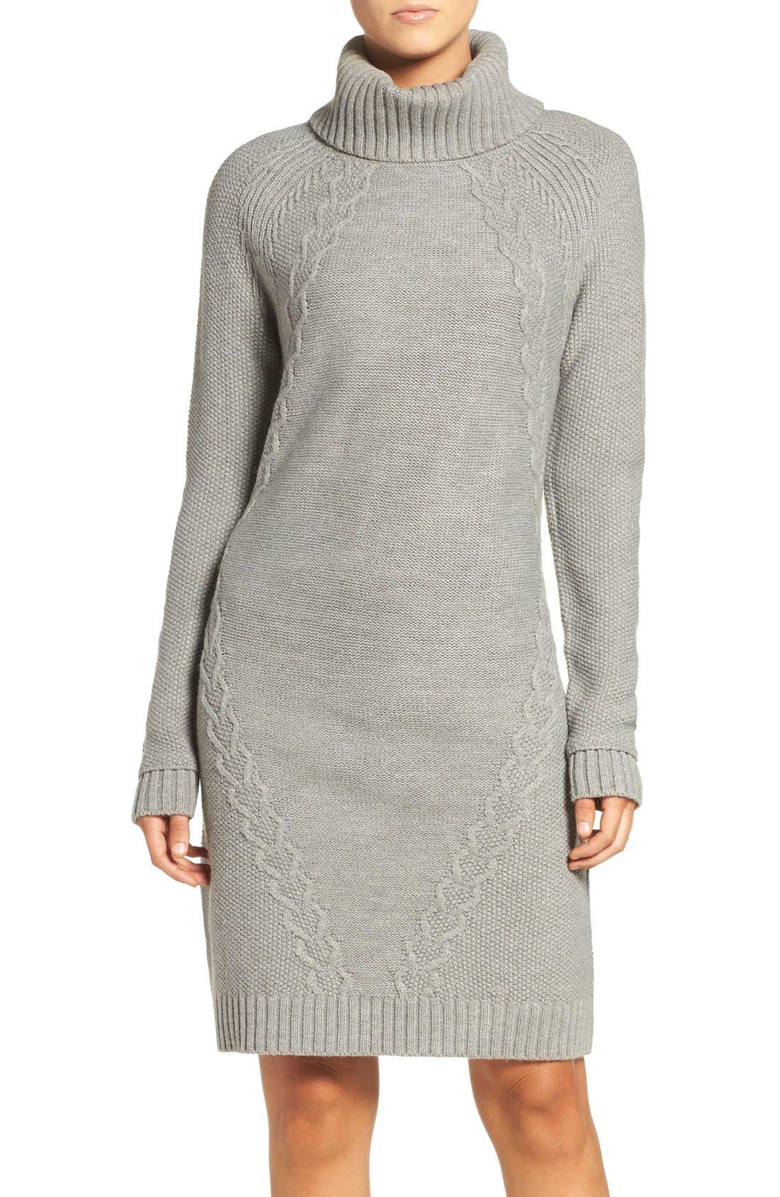 Main Image - Eliza J Cable Knit Sweater Dress (Regular & Petite)