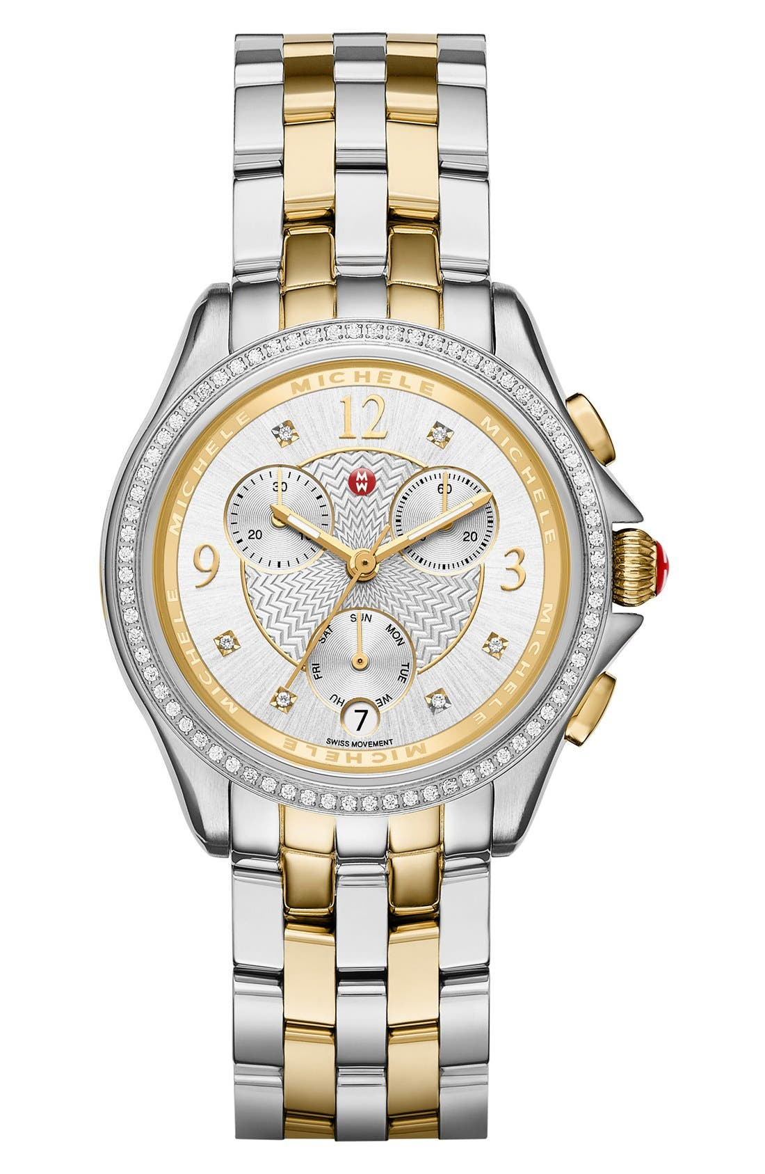 Alternate Image 2  - MICHELE Belmore Chrono Diamond Diamond Dial Watch Case, 37mm