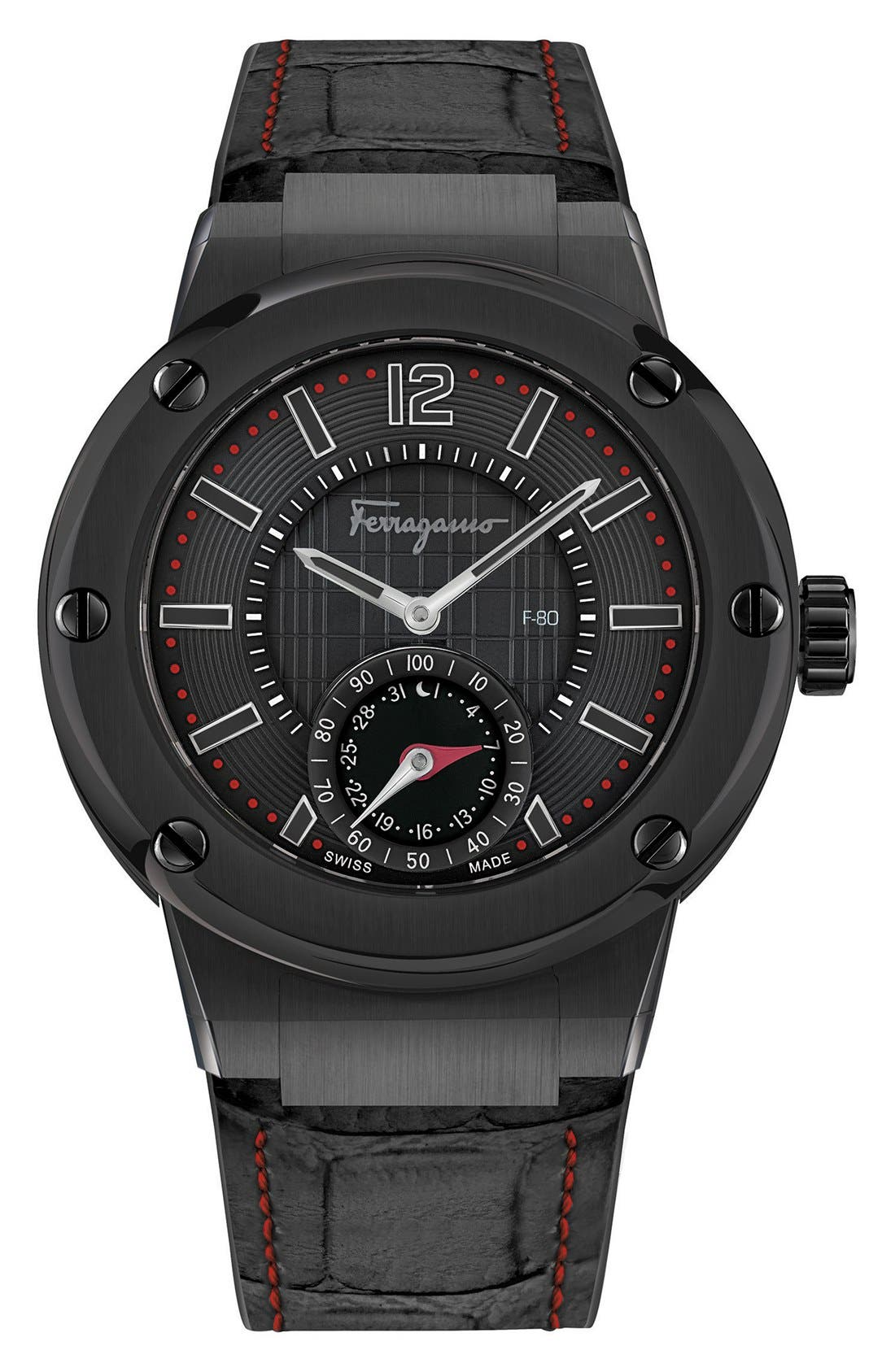 'F-80 Motion' Leather Strap Smart Watch, 44mm,                         Main,                         color, Black