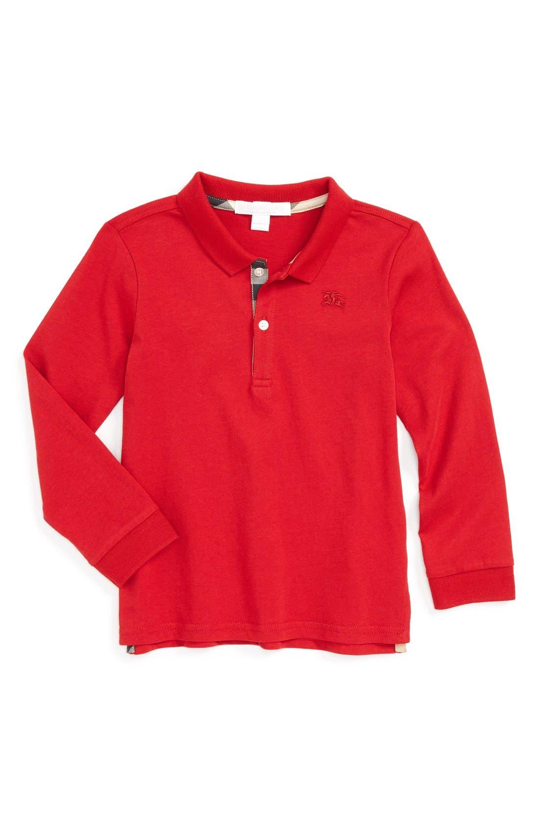 Alternate Image 1 Selected - Burberry 'Palmer' Long Sleeve Polo (Toddler Boys)