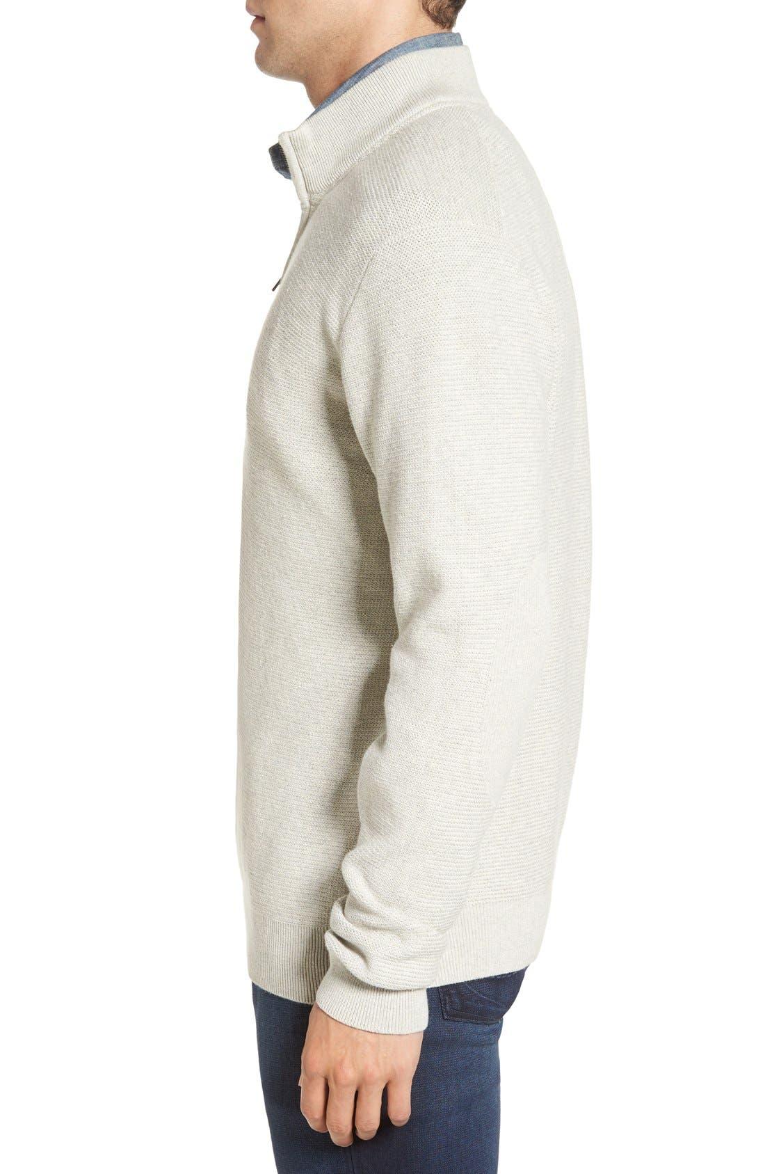 'Benson' Quarter Zip Textured Knit Sweater,                             Alternate thumbnail 3, color,                             Limestone Heather