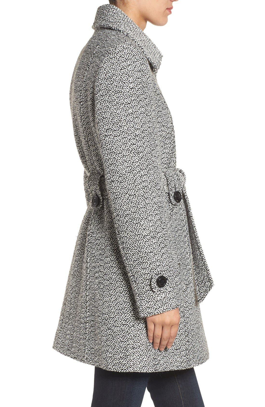 Belted Tweed Coat,                             Alternate thumbnail 3, color,                             Black/ White