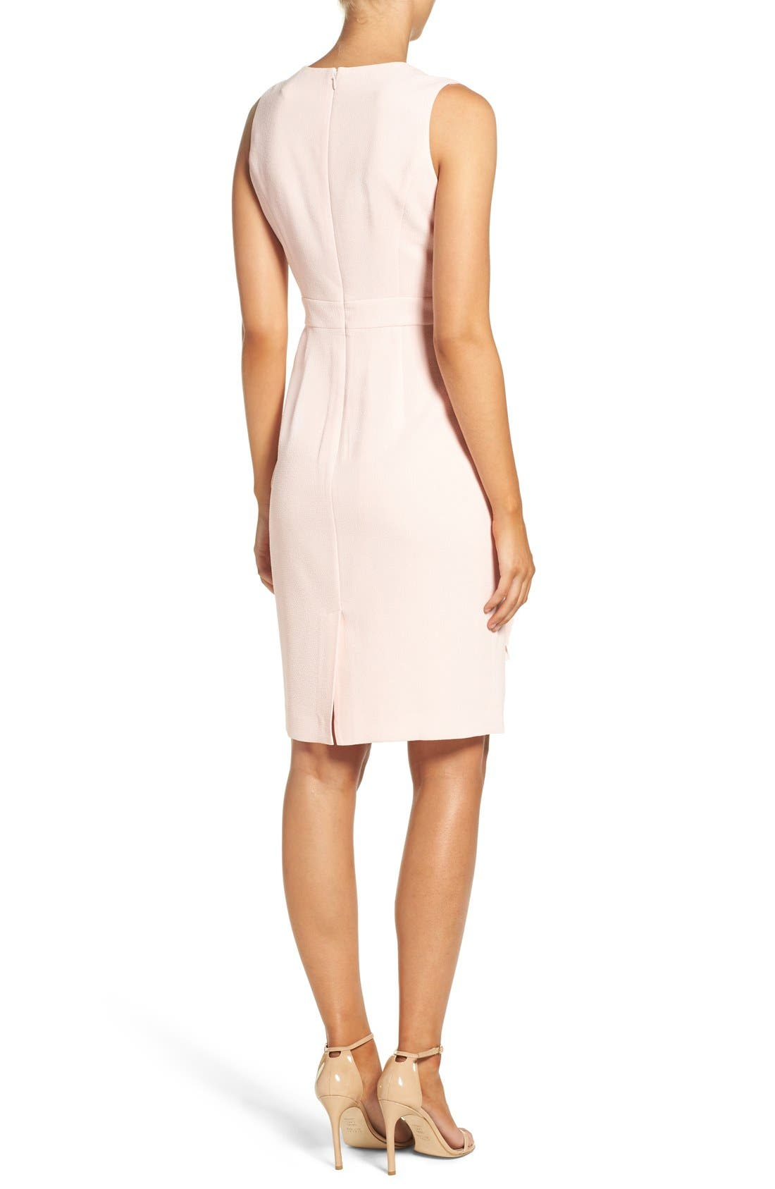 Ella Cascade Crepe Sheath Dress,                             Alternate thumbnail 3, color,                             Blush