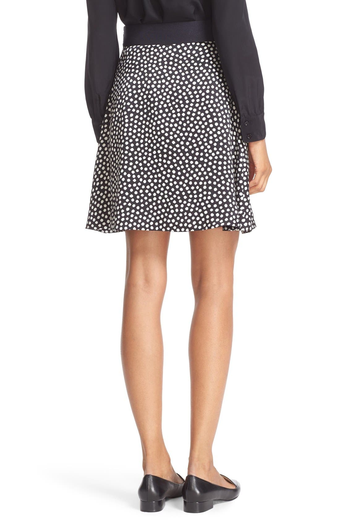 Alternate Image 2  - kate spade new york spot print silk flippy skirt