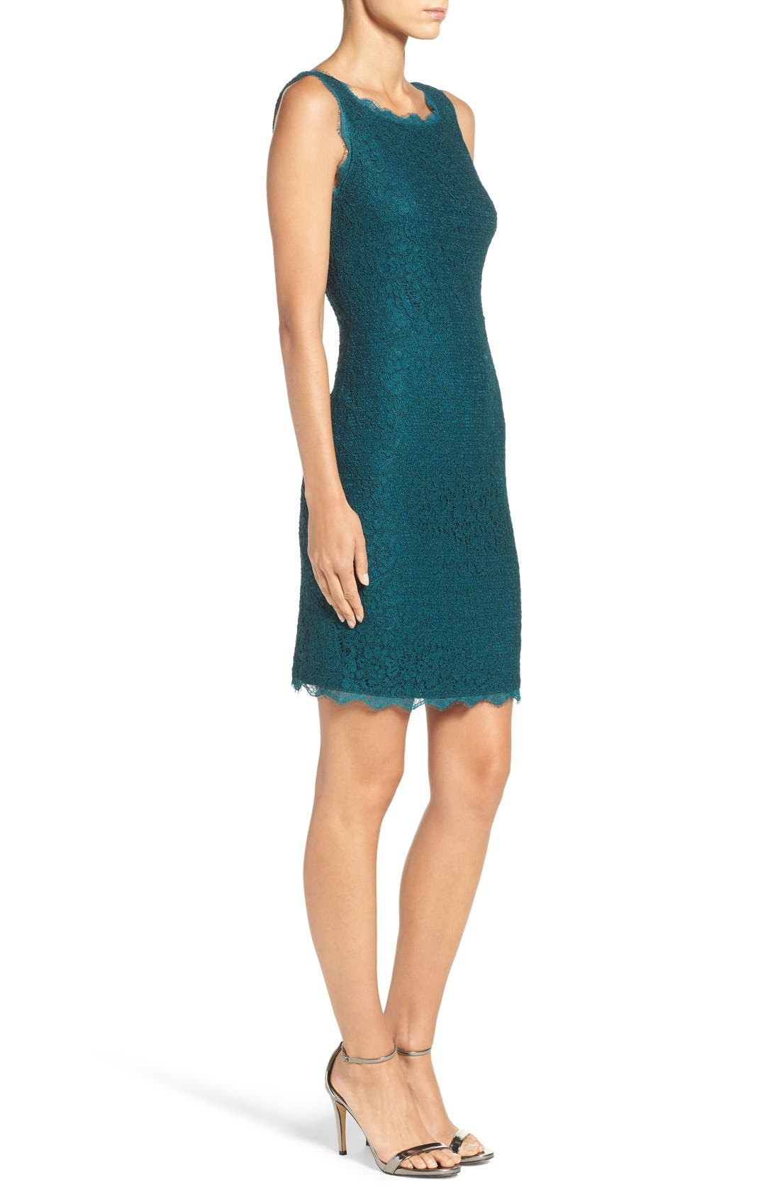 Boatneck Lace Sheath Dress,                             Alternate thumbnail 4, color,                             Hunter
