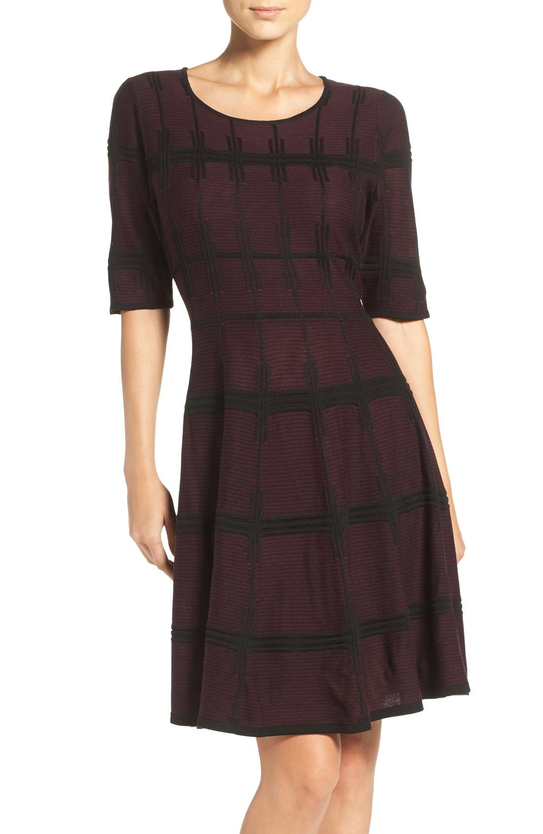 Main Image - Ivanka Trump Plaid Sweater Knit Fit & Flare Dress