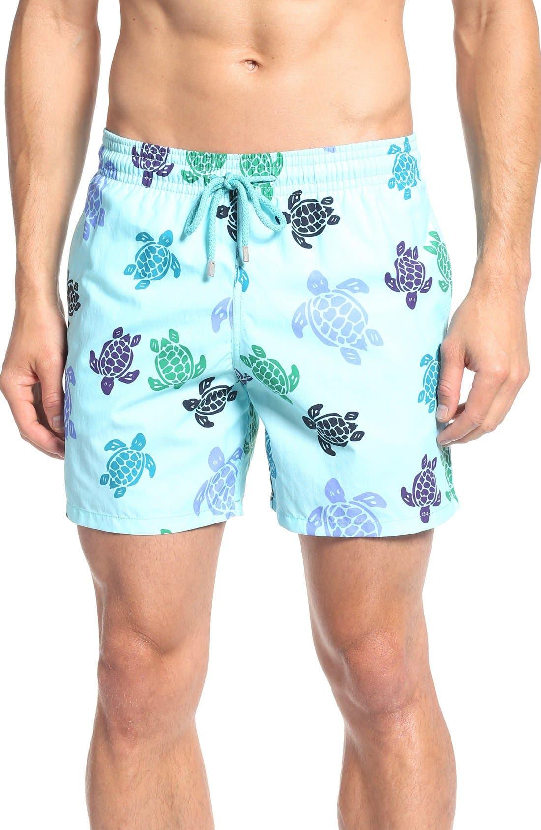 Turtle Dance Print Swim Trunks,                         Main,                         color, Lagoon