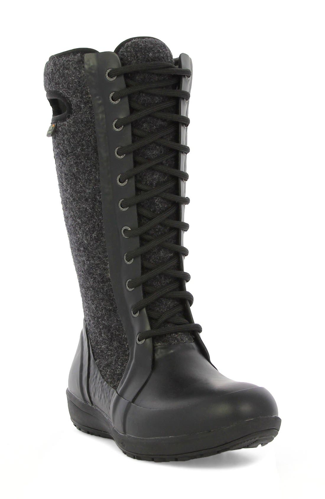 'Cami' Knee High Waterproof Boot,                             Main thumbnail 1, color,                             Black Multi Wool