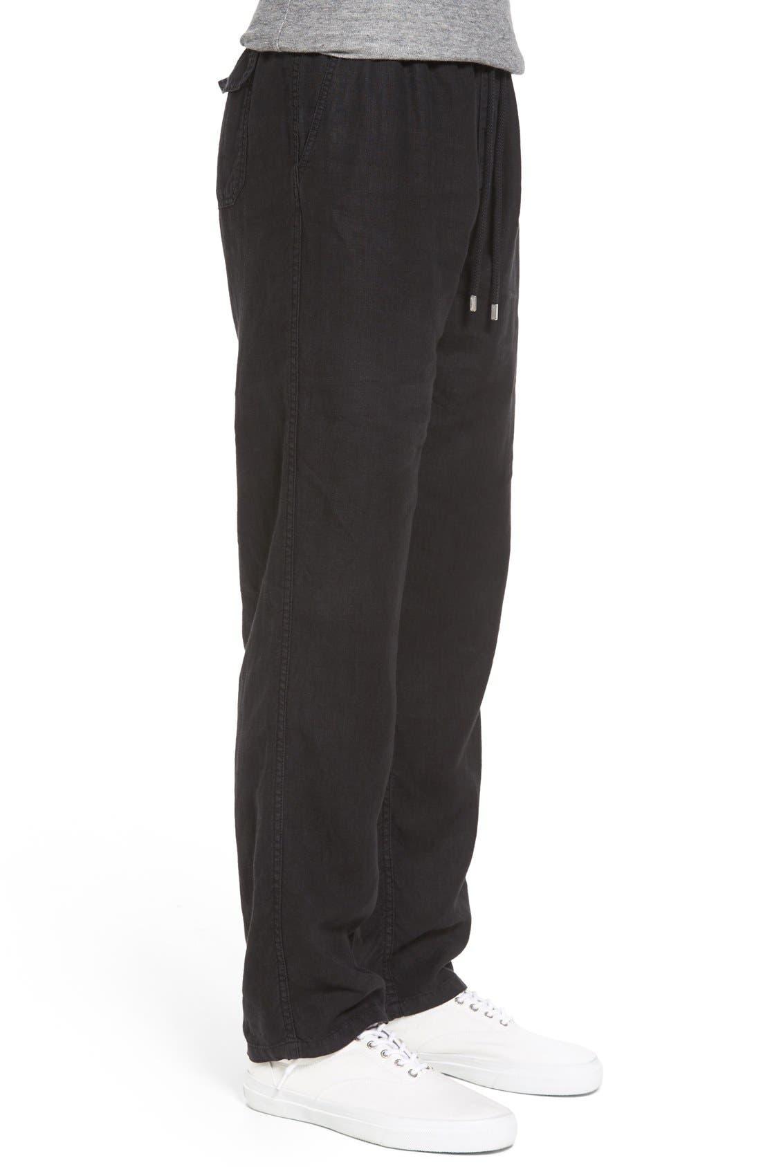 'Classic' Linen Pants,                             Alternate thumbnail 3, color,                             Black