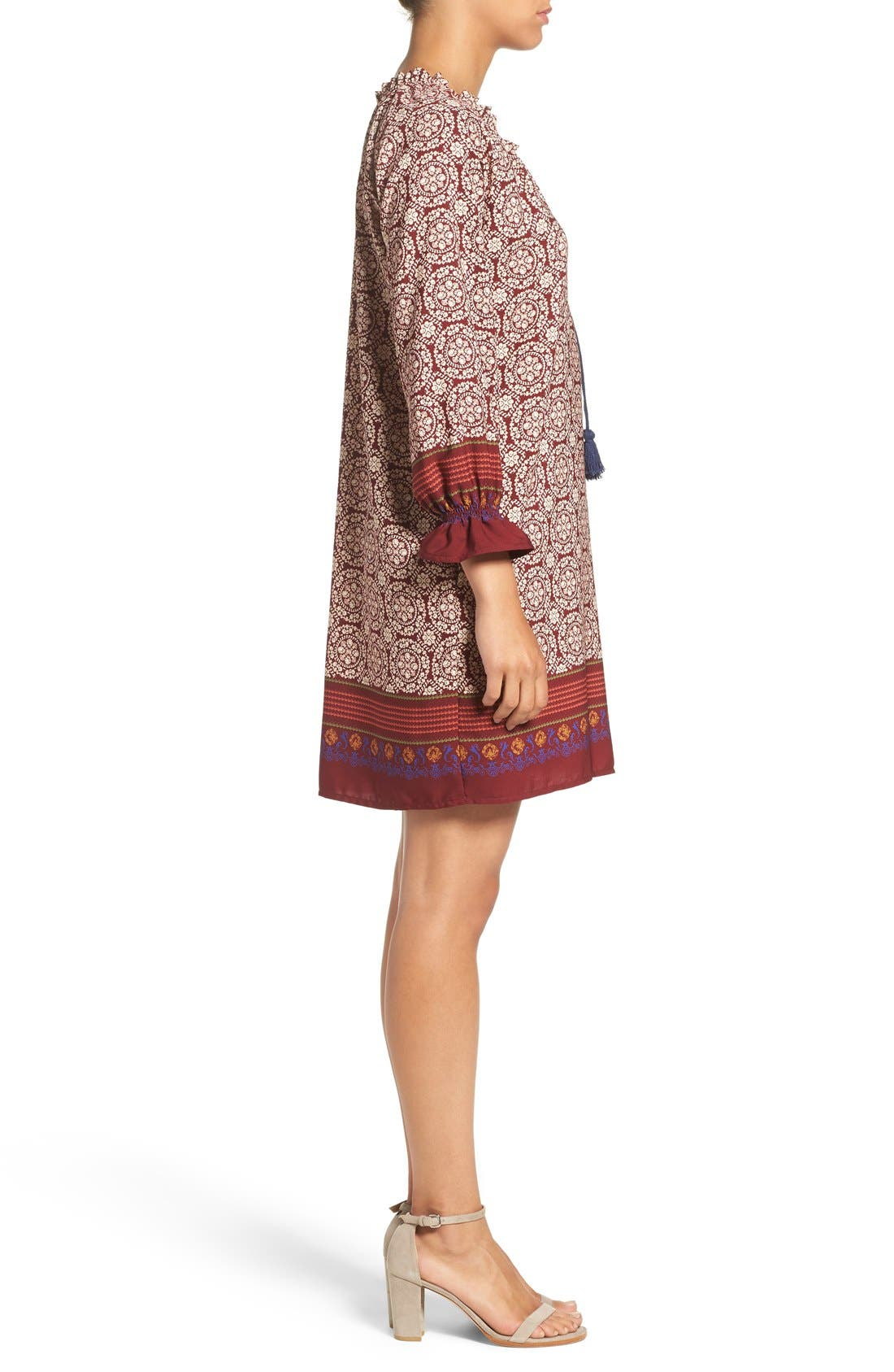 'Nora' Print Woven Shift Dress,                             Alternate thumbnail 3, color,                             Nora Wine