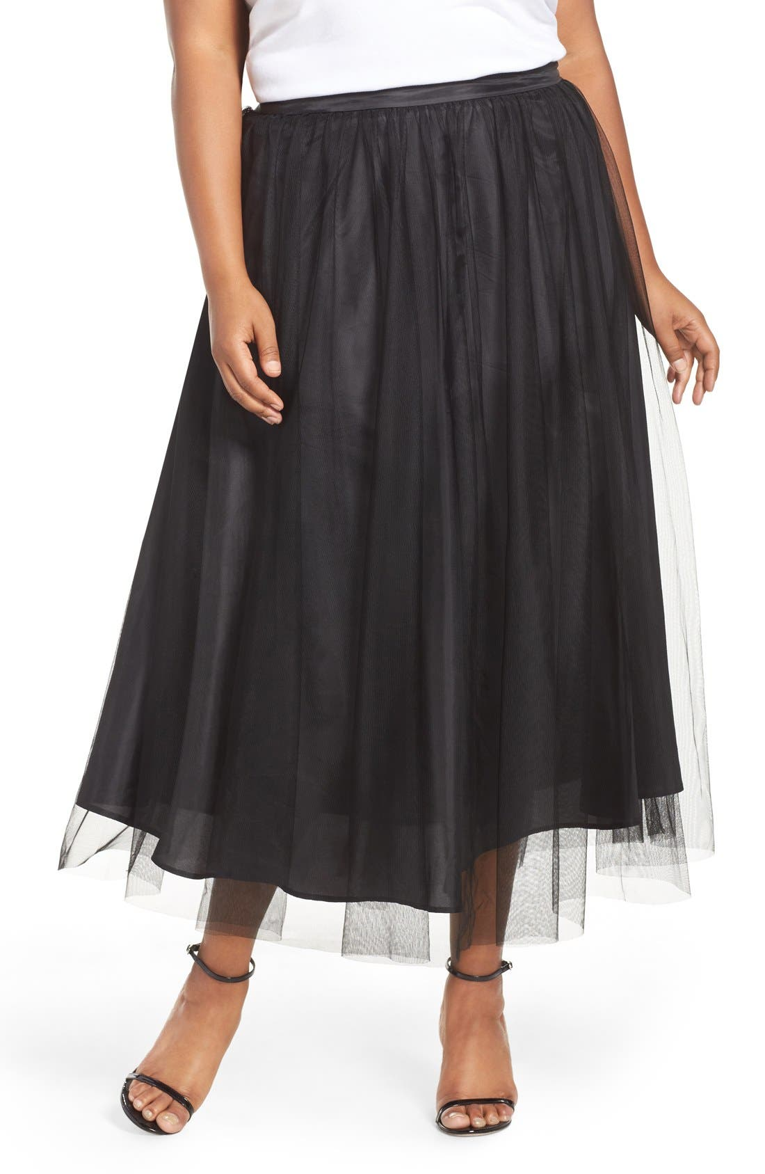 Alternate Image 1 Selected - Alex Evenings Tulle Tea Length Skirt (Plus Size)