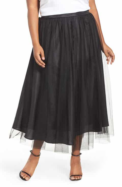 Alex Evenings Tulle Tea Length Skirt (Plus Size)