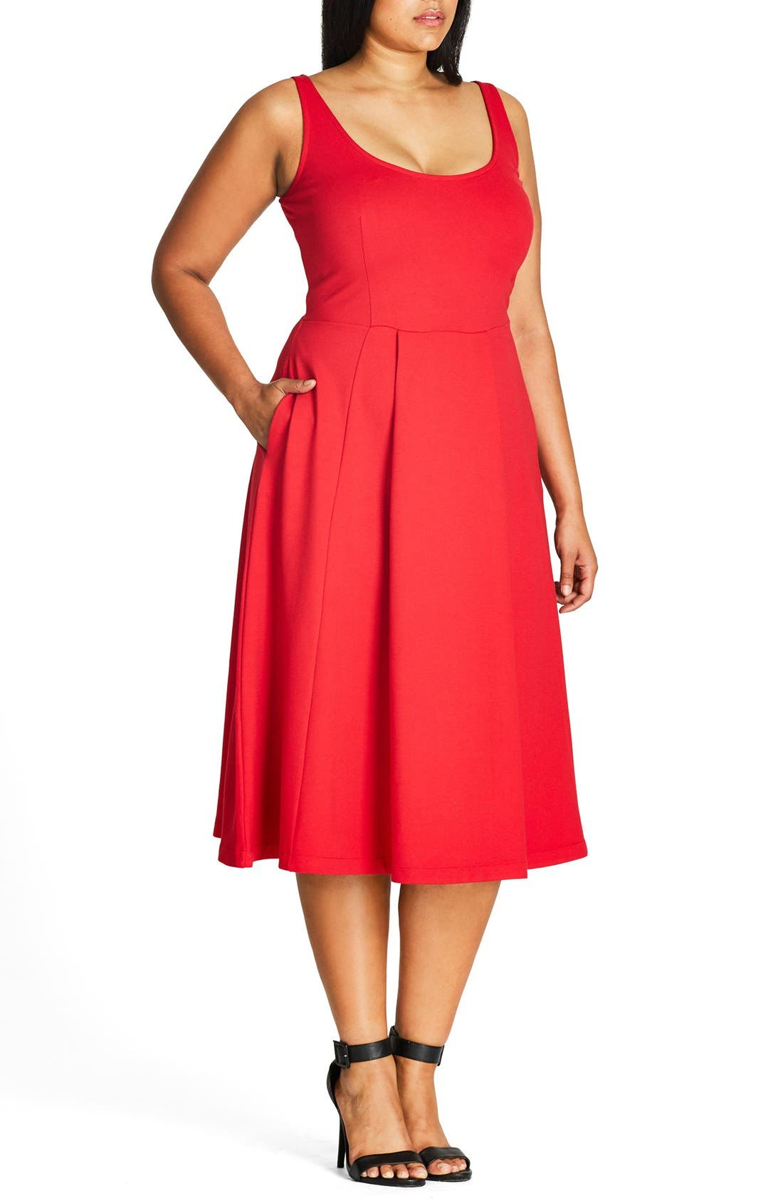 Classic Longline Scoop Neck Midi Dress,                             Alternate thumbnail 3, color,                             Cherry Red