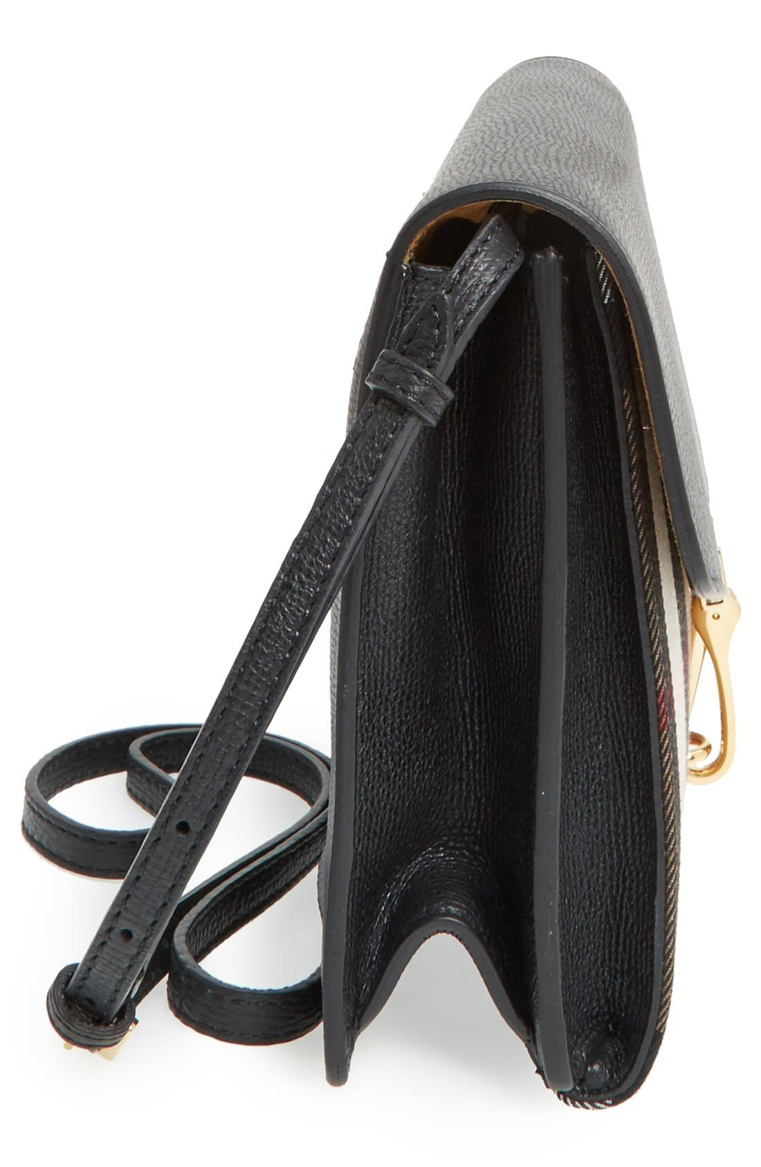 'Small Macken' House Check Crossbody Bag,                             Alternate thumbnail 5, color,                             Black