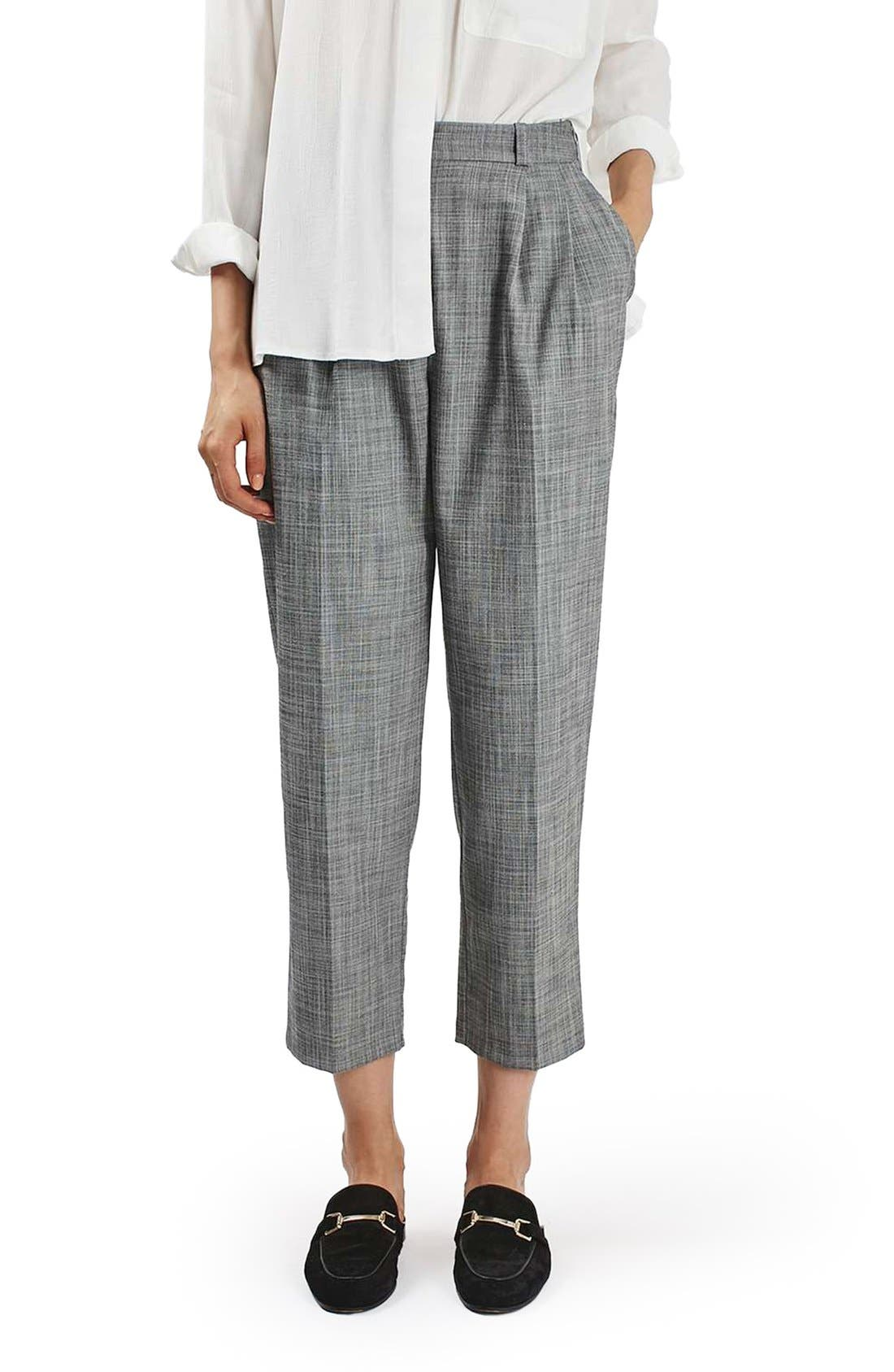 Alternate Image 1 Selected - Topshop Crosshatch Crop Trousers