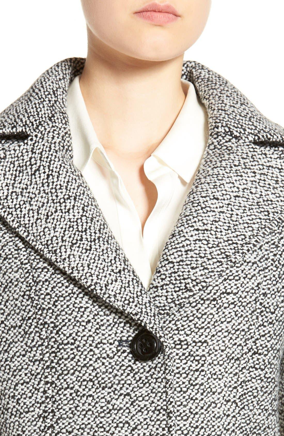 Notch Collar Tweed Coat,                             Alternate thumbnail 4, color,                             White/ Black