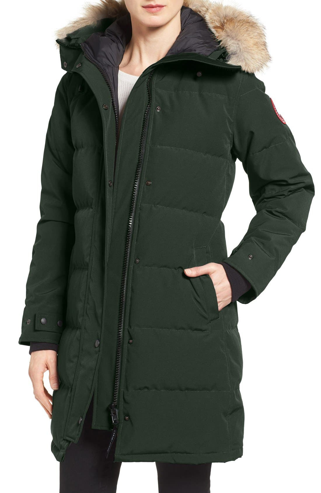 Shelburne Genuine Coyote Fur Trim Down Parka,                             Main thumbnail 1, color,                             Algonquin Green