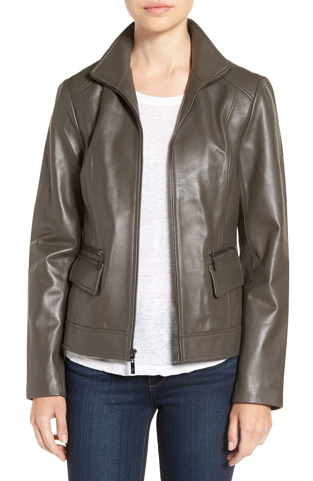 Wing Collar Leather Jacket,                         Main,                         color, Dove