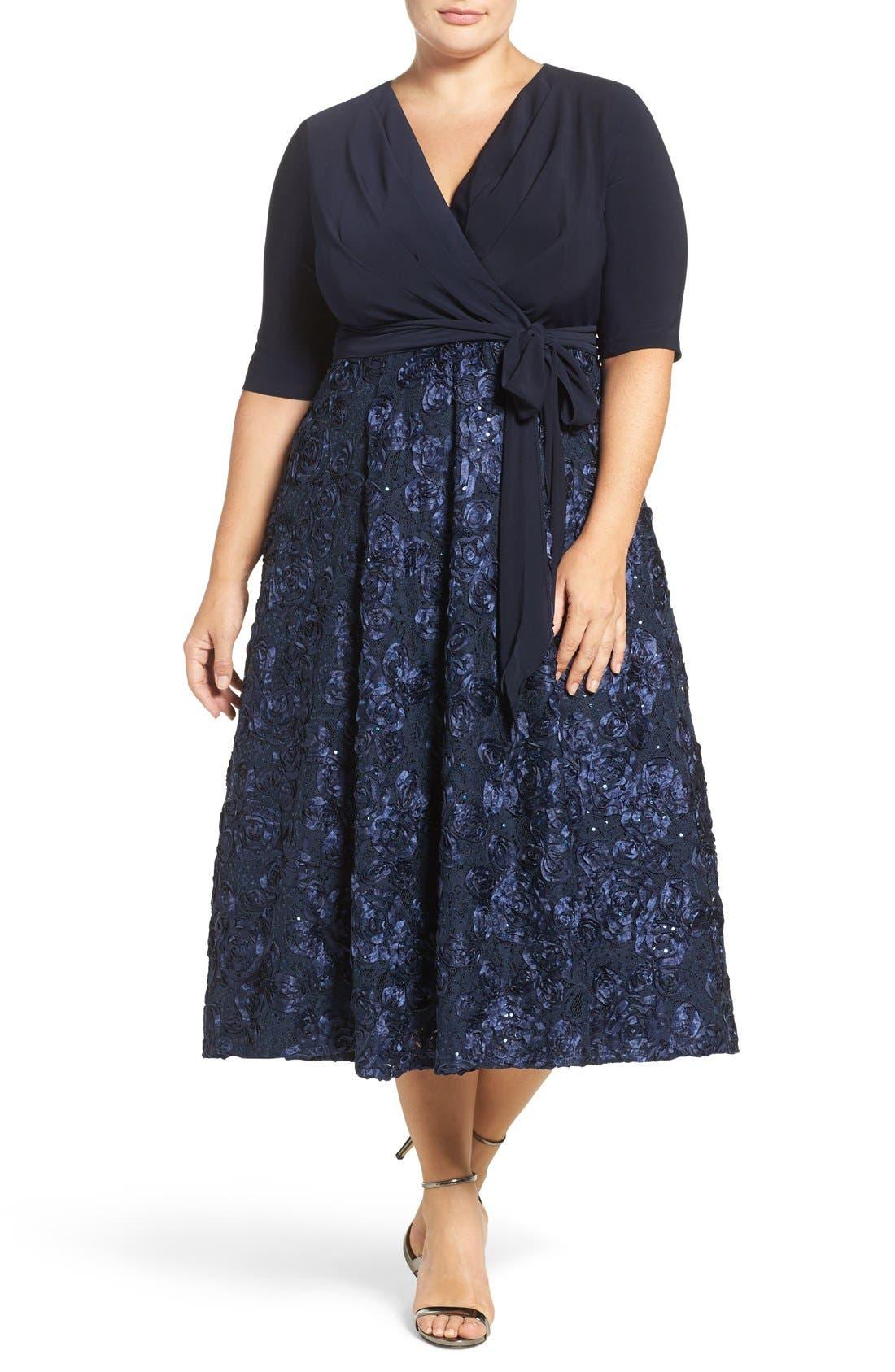 Tea Length Jersey & Rosette Lace Dress,                             Alternate thumbnail 3, color,                             Navy
