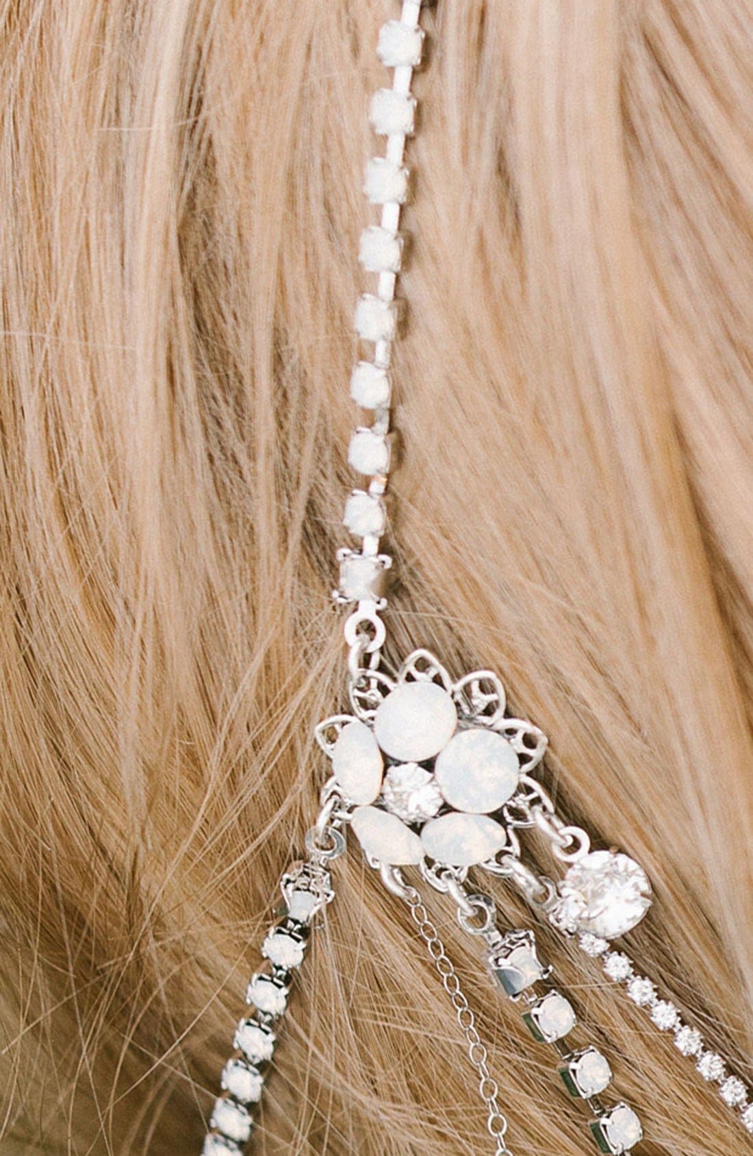 'Madeline' Floral Crystal Hair Chain,                             Alternate thumbnail 3, color,                             Crystal/ White Opal