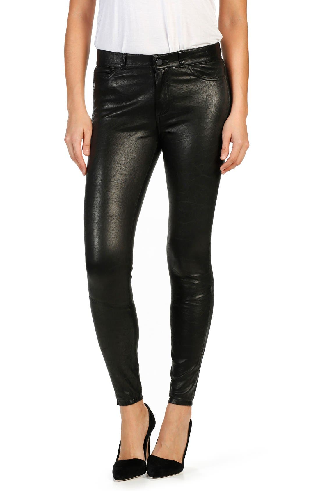 PAIGE 'Verdugo' Ankle Skinny Leather Pants