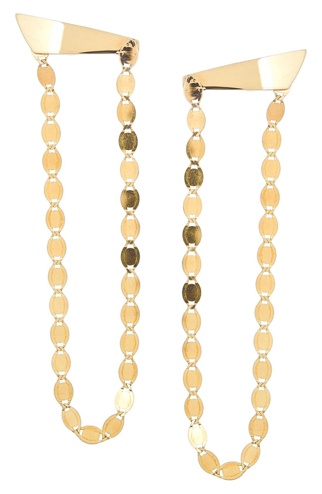 'Long Nude' Chandelier Earrings,                         Main,                         color, Yellow Gold