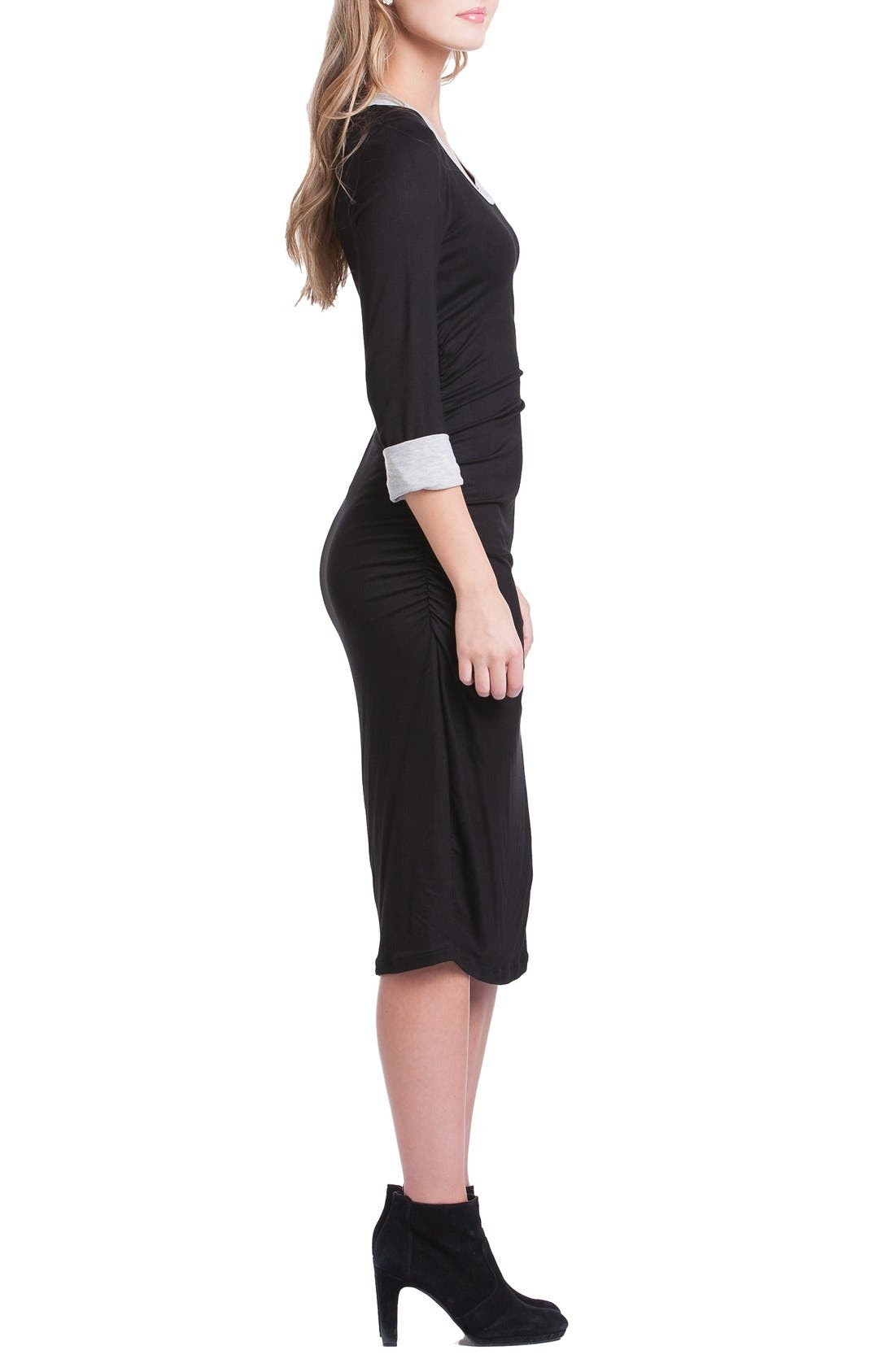 Body-Con Maternity Dress,                             Alternate thumbnail 4, color,                             Black/ Grey